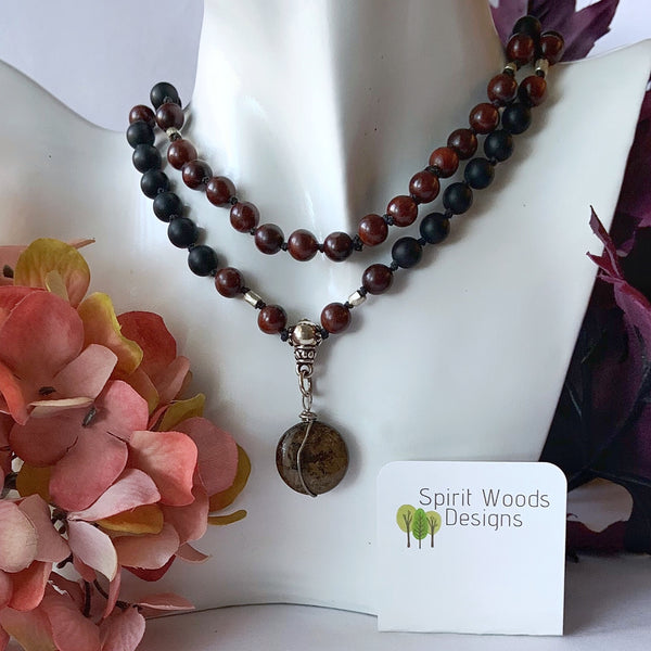 Mala - Hand Knotted - Red Breciated Jasper. Black Onyx, and Rosewood Beads with a Bronzite Guru Bead