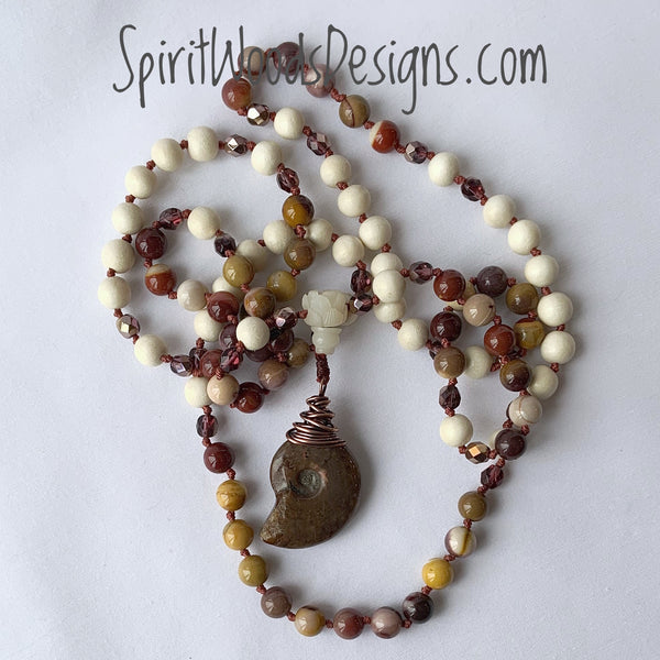 Mala - Hand Knotted - Mookaite, Czech Glass and White Wood with an Ammonite Fossil Guru Bead