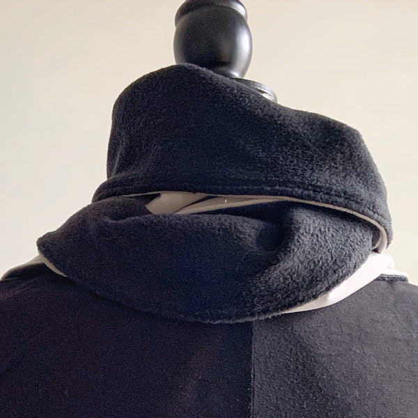 Snood / Neck Warmer / Wrap Scarf  / Shawl in black fleece and putty faux suede