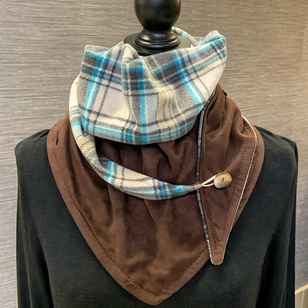 Snood / Neck Warmer / Wrap Scarf / Shawl made from fleece and faux suede