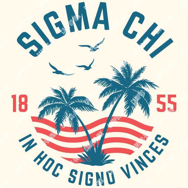 Sigma Chi Palms & Waves Design - Sigma Chi Fraternity
