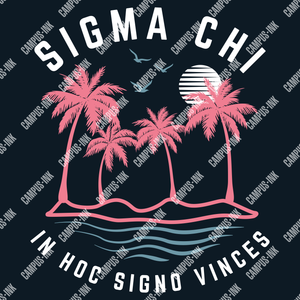 Sigma Chi Palms & Waves Neon Design - Sigma Chi Fraternity