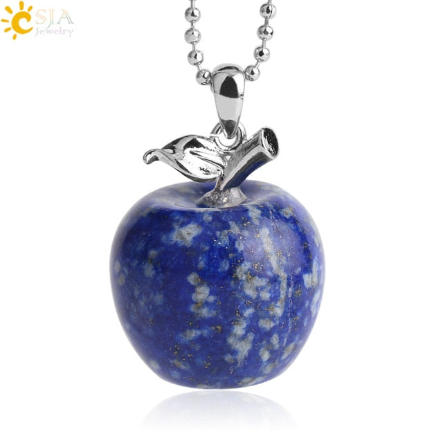 CSJA Suspension Apple Natural Stone Pendant Crystal Pendants Quartz Bead Necklaces Fashion Jewelry for Female Women Gift G046 - Resonate Crystal
