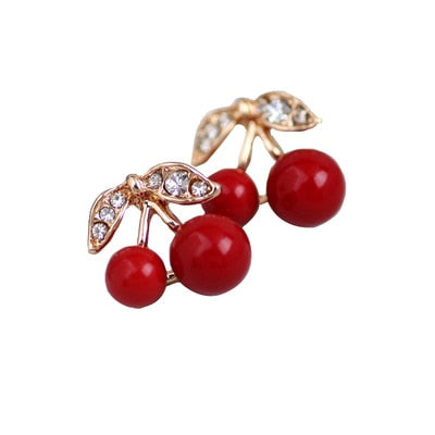 New Fashion Red Cherry Gold Drop Earring Sweet Fruit Long Crystal Earrings for Women Lady Gift Jewelry Tassel Dangle Accessories - Resonate Crystal