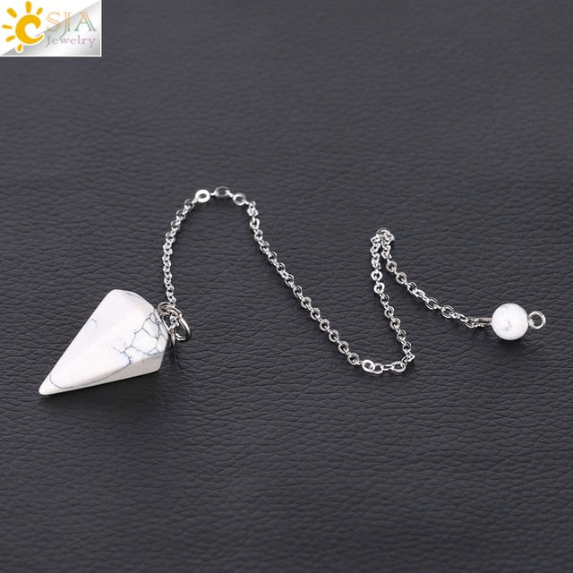 CSJA Small Size Reiki Healing Pendulums Natural Stones Pendant Amulet Crystal Meditation Hexagonal Pendulum for Men Women F366 - Resonate Crystal