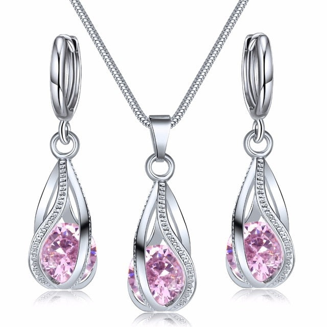 VKME 2020 New Fashion Crystal Jewelry Set Zircon Necklace Earrings Set Decoration - Resonate Crystal