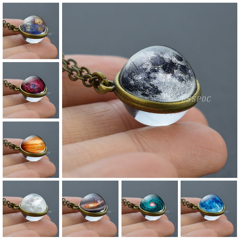 Full Moon Sphere Crystal Ball Glass Necklace Handmade Double Side Glass Ball Pendant Solar System Outer Space Astronomy Jewelry - Resonate Crystal