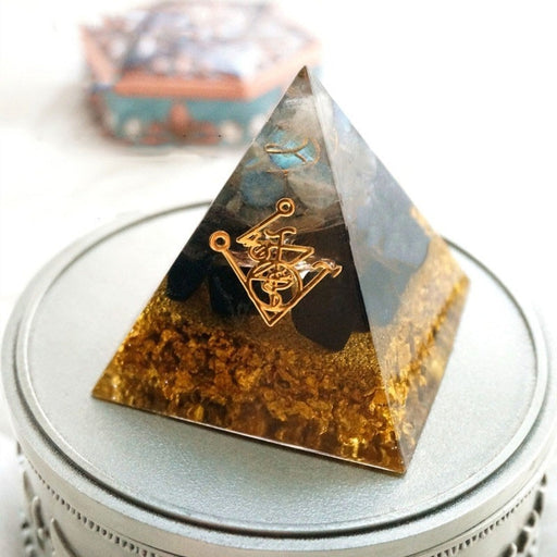 Orgonite Pyramid Muladhara Chakra Obsidian Natural Crystal Repel Evil Spirits Pyramid Decoration Process Resin Gift - Resonate Crystal