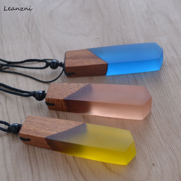 Leanzni Fashion handmade wood resin necklace pendant, sea blue jewelry, woven rope, gift, wholesale - Resonate Crystal