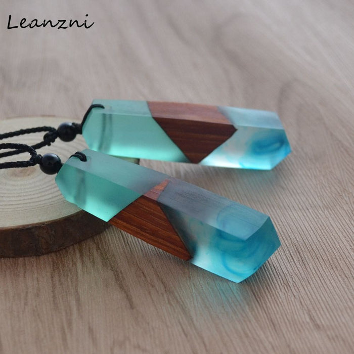 Leanzni  New fashion hand wood resin necklace pendant, men and women applicable jewelry, knitting rope, gifts, wholesale