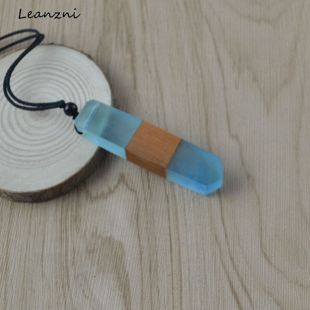 Leanzni Vintage fashion handmade wood resin necklace pendant, woven rope, gifts, men and women applicable jewelry