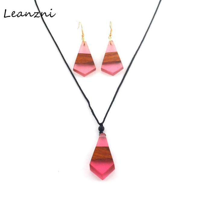 Leanzni Arrows geometric Necklace Pendant suit, wood resin collocation, retro fashion gifts, handmade features. - Resonate Crystal