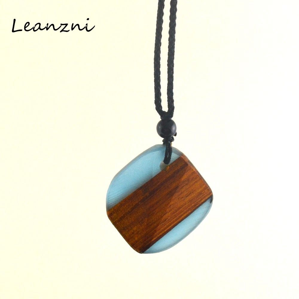 Leanzni Square special wood collocation resin, geometric necklace pendant, fashion men and women jewelry, gifts - Resonate Crystal