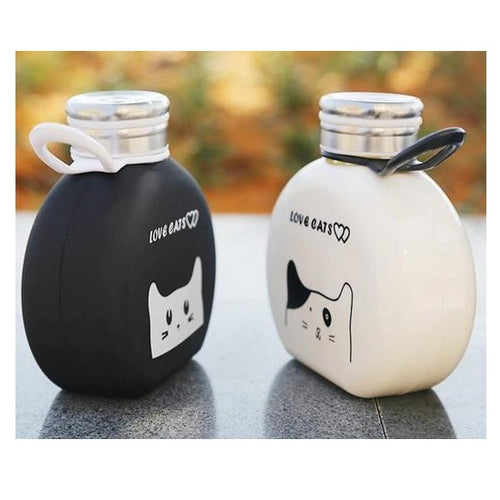 Cat lovers gifts : black and white glass cat flask