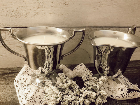 vintage etched stainless steel cream & sugar set
