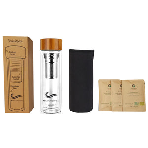 Trinkflasche to go aus Glas inkl. Bio Tee-Set - Natureone Tea World