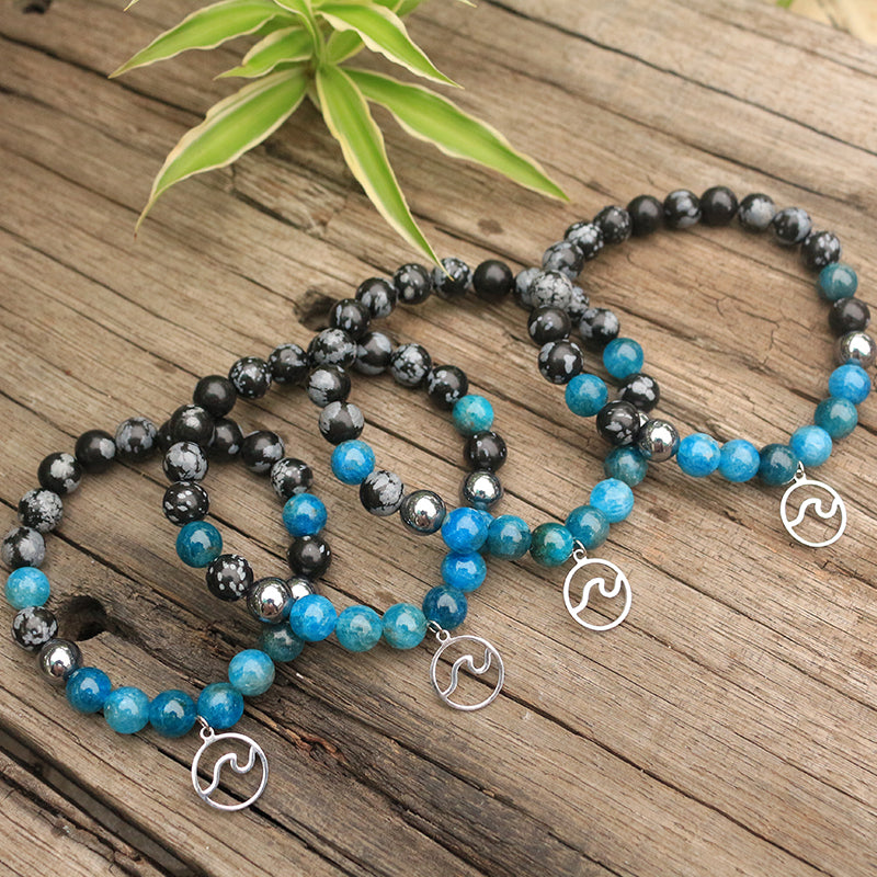 Natural Apatite Bracelet with Charm