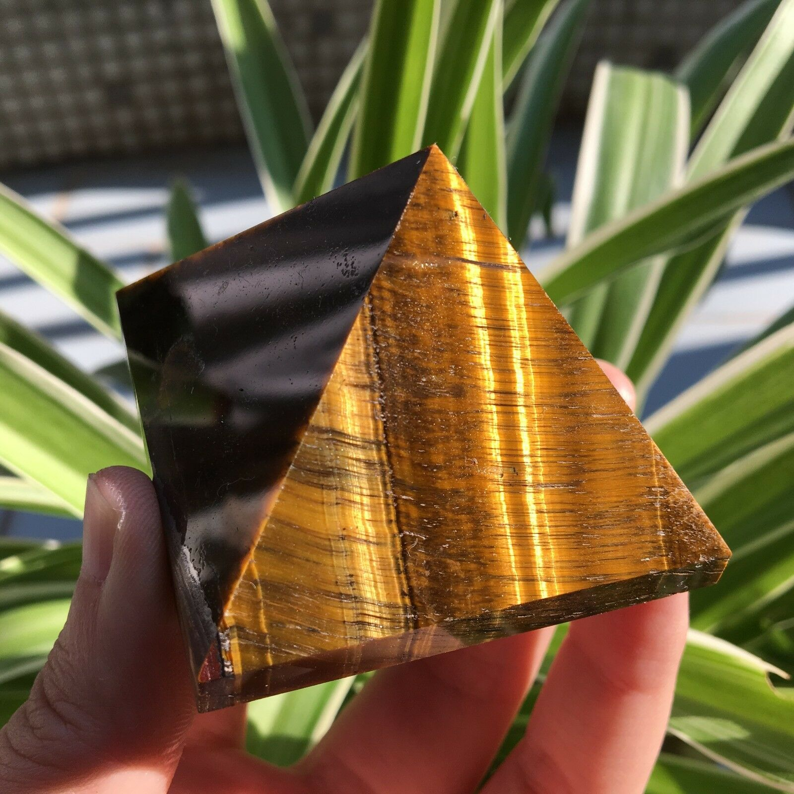 Natural Tiger Eye  Healing Pyramid