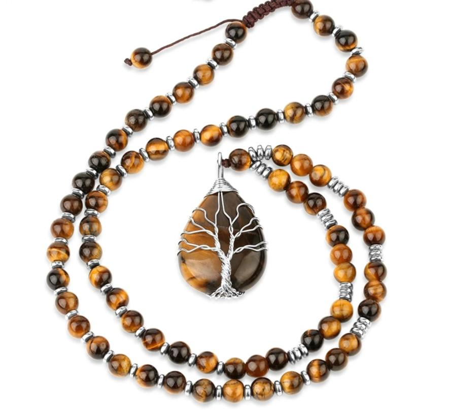Tiger Eye Necklaces with Tree of Life Pendant