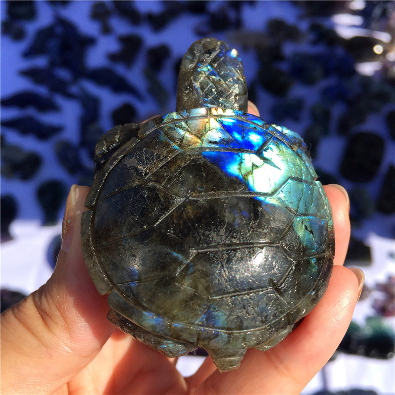 Natural Stone Labradorite Hand Made Carved Tortoise
