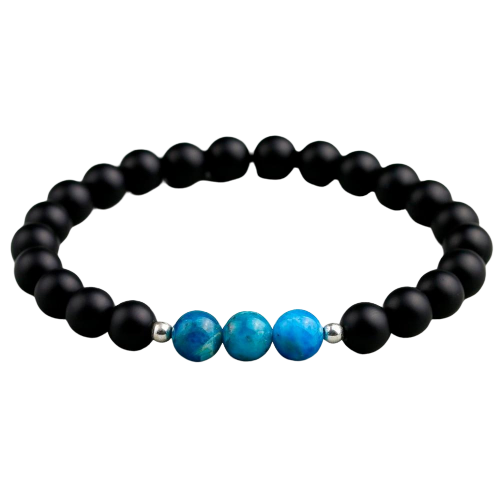 Blue Apatite With Onyx or Howlite Bracelet