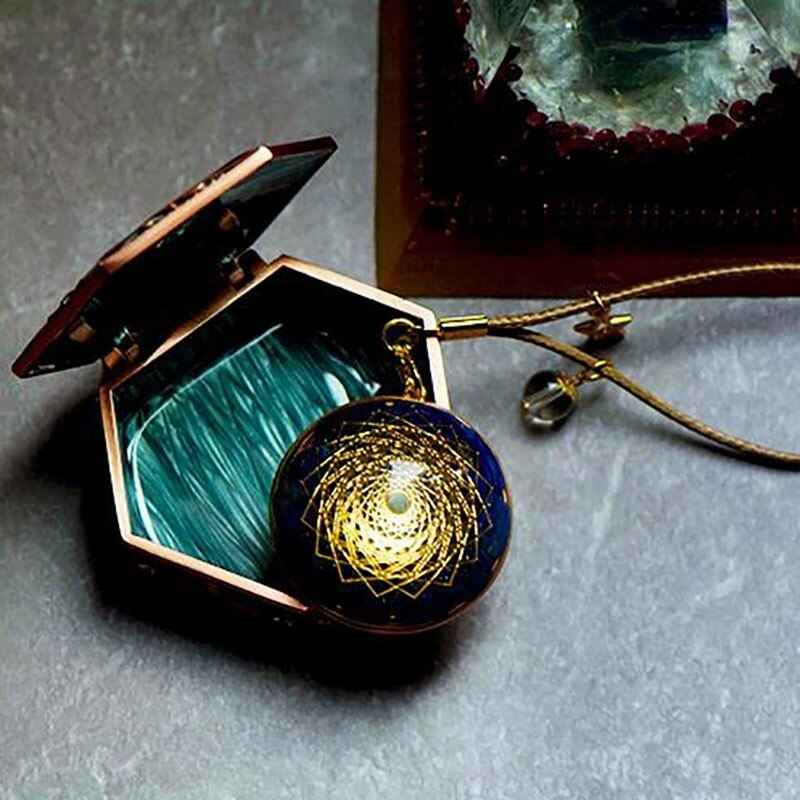 14K Gold Orgonite Pendant Handmade with Lapis For energy conversion