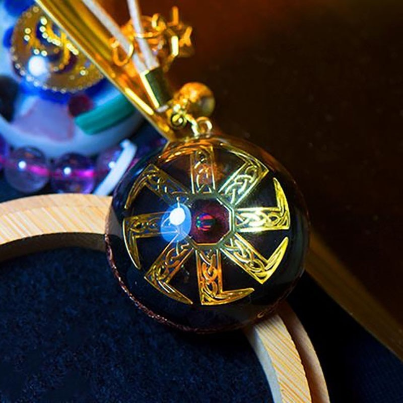 14k Gold Orgonite Pendant  For Blessings of Luck