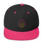 Super cool Hot pink and black baseball cap with Neon Pineapple and Headphones