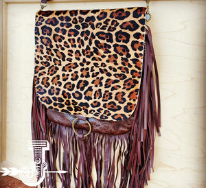 Hair-On-Hide w/ Leopard Flap Crossbody Handbag