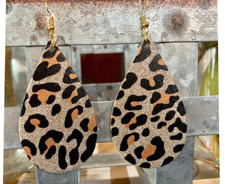 Leopard glitter tear drop earrings