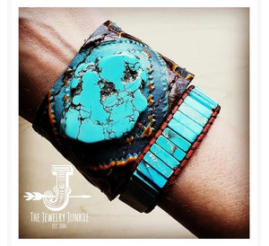 Leather cuff with Leather Tie-Blue Navajo and Turquoise Slab