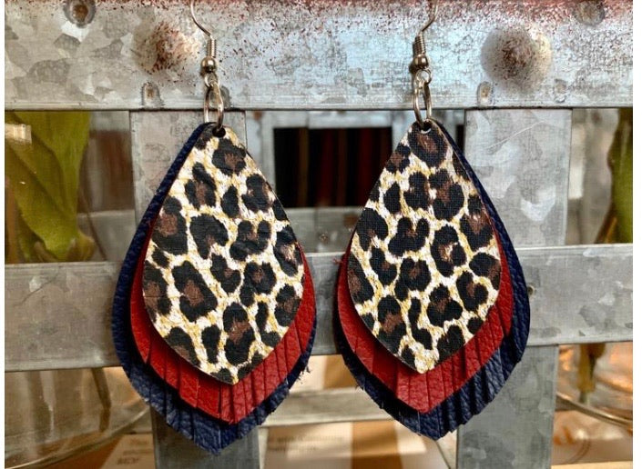 Leopard red navy stack earrings
