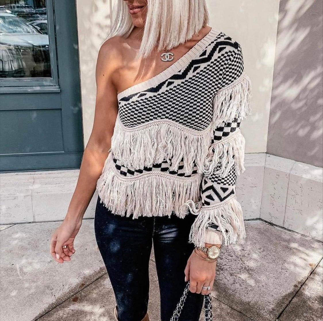 One shoulder fringe sweater top