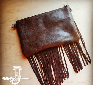 Hair on Hide Clutch Handbag w/ Fringe & Cowboy Accent