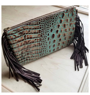 Turquoise and brown leather gator clutch / crossbody
