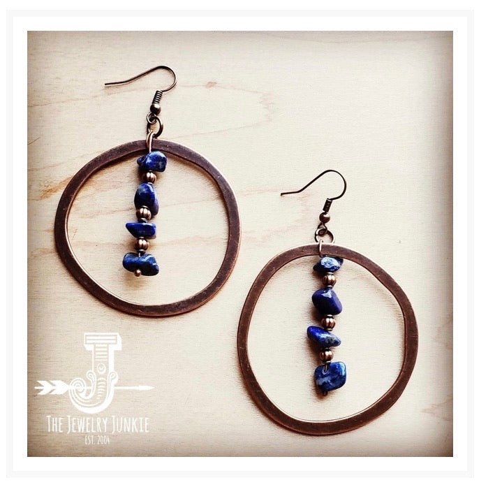 Copper Hoop Earrings w/ Blue Lapis and Copper