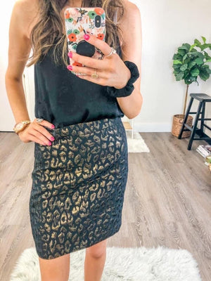 Holly metallic leopard print skirt
