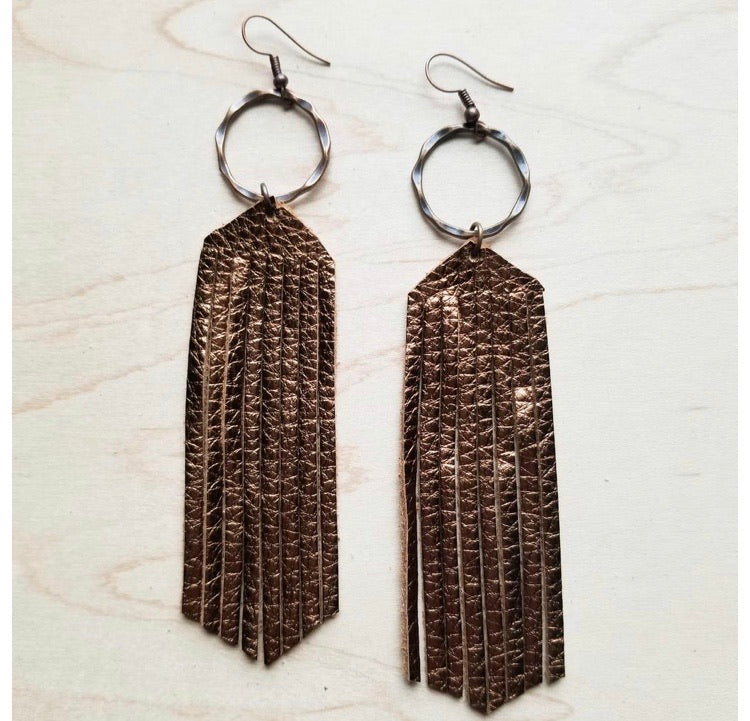 Metallic bronze leather fringe earrings