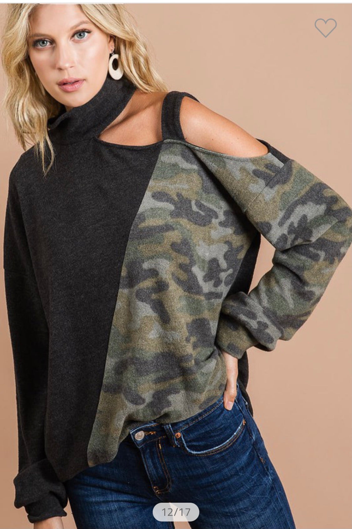 Brushed knit high neck top