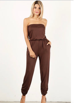 Gorgeous solid brown relaxed fit jumpsuit