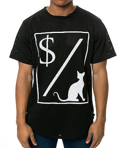 MONEY OVER PUSSY CAT MESH TEE BLACK