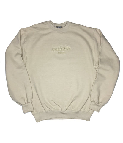 SOUTH SIDE FRANCE EMBROIDERED CREW BEIGE