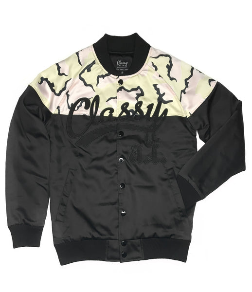 Classy A.F. Satin Bomber Jacket Black and Camo