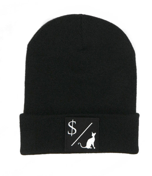MONEY OVER PUSSY CAT BLACK BEANIE