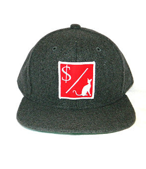 MONEY OVER PUSSY CAT WOOL SNAPBACK GREY