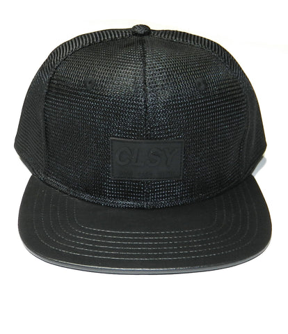 CLSY MESH AND LEATHER SNAPBACK BLACK