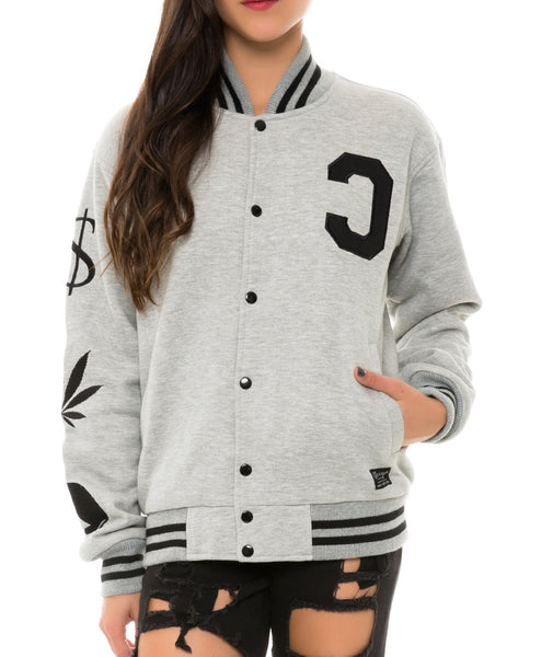 PMW FLEECE VARSITY JACKET HEATHER