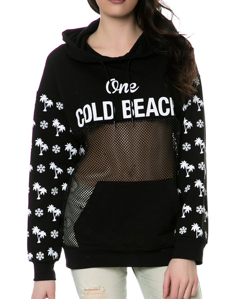 ONE COLD BEACH HOODIE BLACK