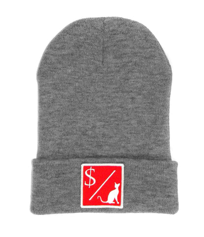 MONEY OVER PUSSY CAT GREY BEANIE