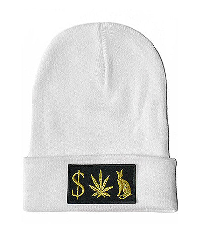 MONEY WEED PUSSY CAT BEANIE WHITE